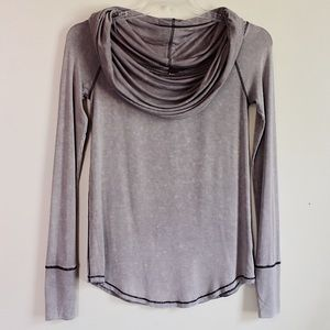 Free People Cosmo Cowl Neck Long Sleeve Top Mauve